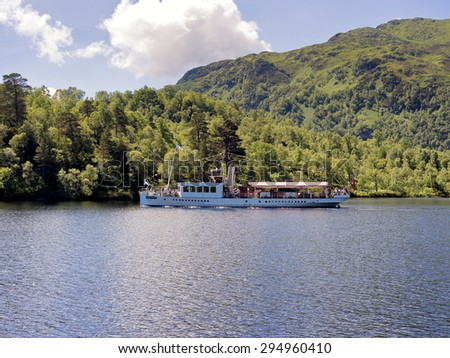Loch Katrine, Scotland, UK. June 15th 2015. Visitors enjoying the steamboat trip on Loch Katrine in the summer heat,