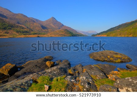 Loch Leven Scottish lake west coast of Scotland in Scottish Highlands west of Kinlochleven with rocks in foreground