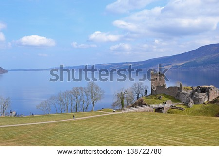 Loch Ness with Urquhart Castle in Scotland - stock photo