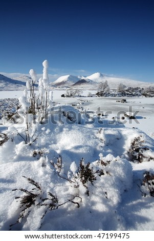 Lochan na h-Achlaise on Rannoch Moor. - stock photo