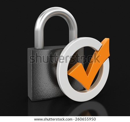 Lock and Check Mark (clipping path included) - stock photo