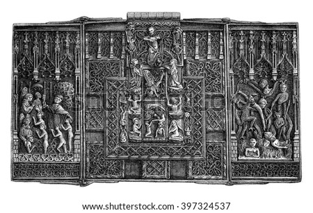 Lock and chiseled iron forge, the fifteenth century, vintage engraved illustration. Magasin Pittoresque 1876.