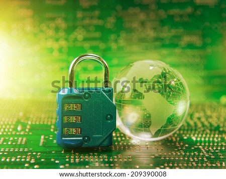 Lock and glass earth with technology style - stock photo