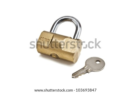 lock and key on white