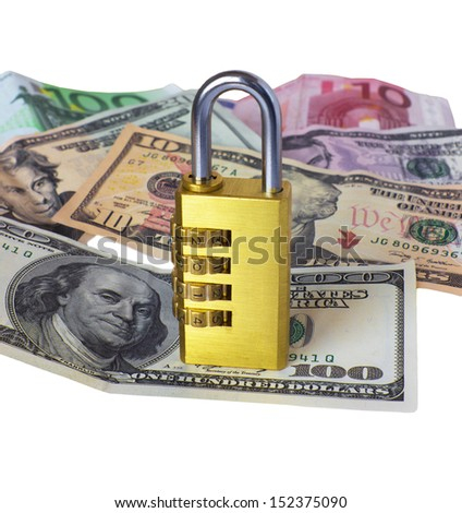 Lock and money, isolated on the white - stock photo