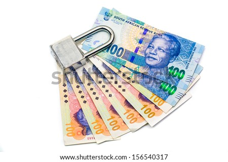 Lock and money, isolated on the white background