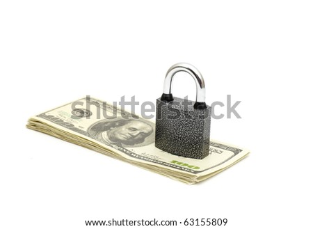 lock and money isolated on white - stock photo