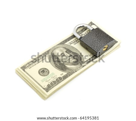 lock and money isolated on white