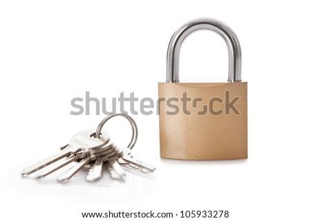 Lock and set of keys. Isolated on white - stock photo