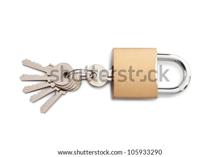 Lock and set of keys. Isolated on white