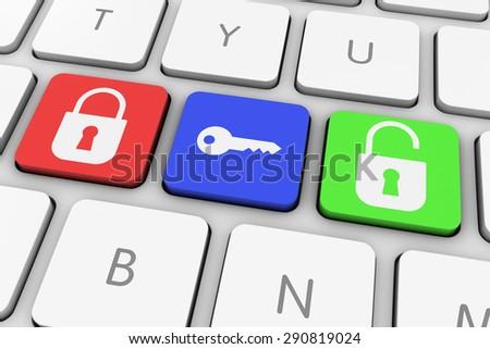 Lock and Unlock Computer Keys on White Keyboard - stock photo