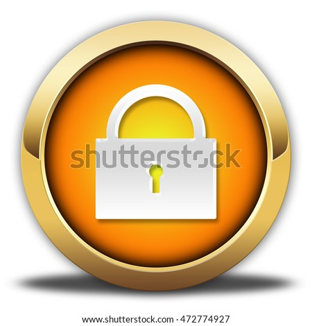 lock button isolated. 3D illustration