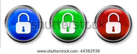 Lock 3-D RGB Buttons - stock photo