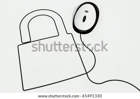 lock drawn with computermouse wire - stock photo