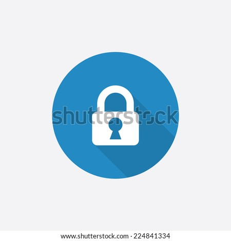lock Flat Blue Simple Icon with long shadow, isolated on white background