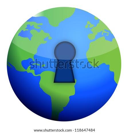 lock globe illustration design over a white background - stock photo