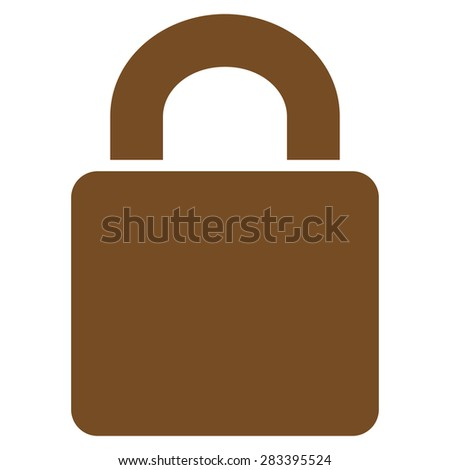 Lock icon from Basic Plain Icon Set. Style: flat symbol icon, brown color, rounded angles, white background. - stock photo