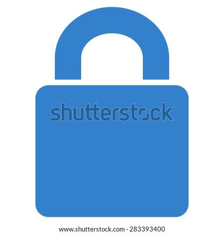 Lock icon from Basic Plain Icon Set. Style: flat symbol icon, cobalt color, rounded angles, white background. - stock photo