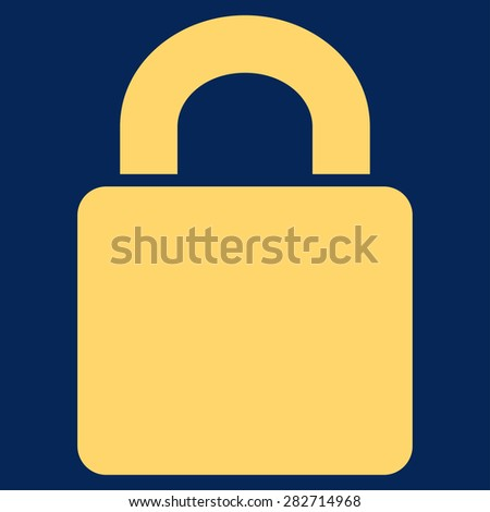 Lock icon from Basic Plain Icon Set. Style: flat symbol icon, yellow color, rounded angles, blue background. - stock photo