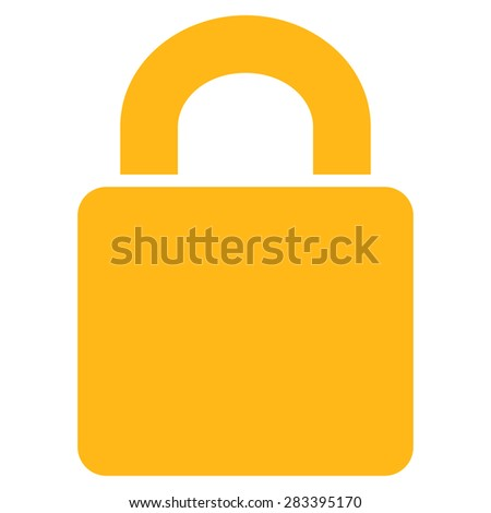 Lock icon from Basic Plain Icon Set. Style: flat symbol icon, yellow color, rounded angles, white background. - stock photo