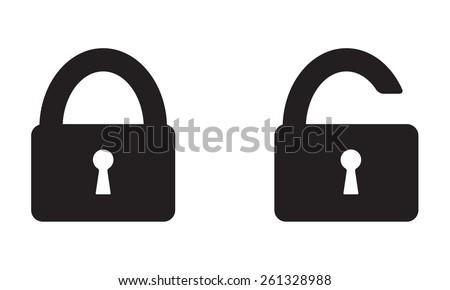 Lock Icon set on white background. Open and closed lock symbol. - stock photo