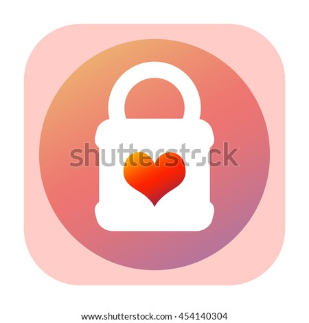 Lock icon with keyhole in the shape of heart - stock photo