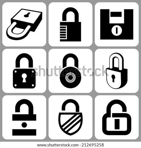 Lock icons set illustration raster version - stock photo