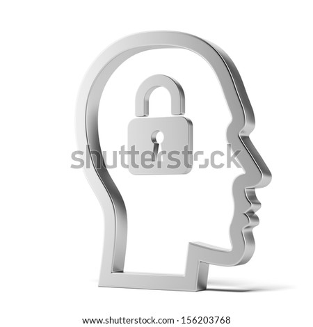 lock inside head - stock photo