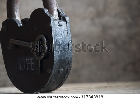 "Lock, key and tag with a word ""Life"""