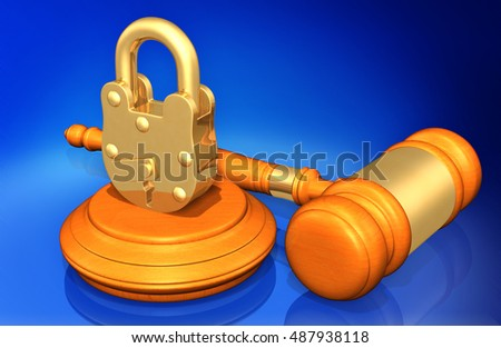 Lock Legal Gavel Concept 3D Illustration