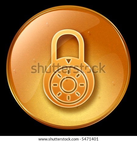 Lock off, icon, isolated on black background