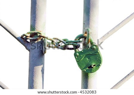 Lock on a gate, with clipping(work) path - isolated - stock photo