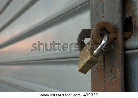 Lock on a metal sliding door.