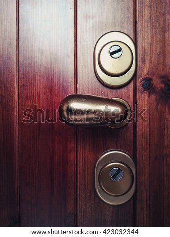 Lock on a wooden door