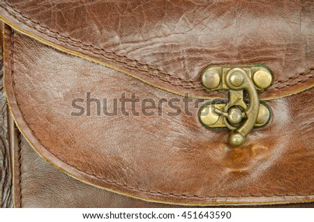 Lock on Brown leather bag