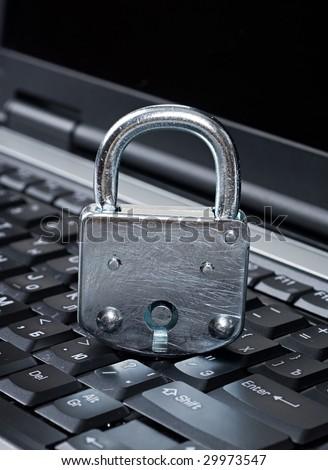 Lock on laptop - stock photo