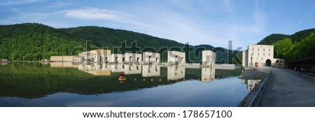 Lock on the River Danube - stock photo