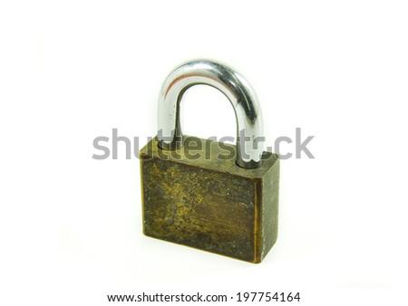Lock  on white background - stock photo