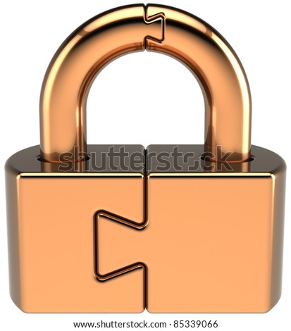 Lock padlock closed guard. Security password hold icon concept. Golden puzzle link secret code encryption abstract. Detailed 3d render. Isolated on white background - stock photo