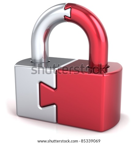 Lock padlock security safeguard. Closed puzzle link secret code encryption abstract. Strong password hold icon concept. Detailed 3d render. Isolated on white background - stock photo