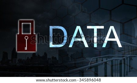 lock space protect private data and information  form vrius,Business and technology concept - stock photo