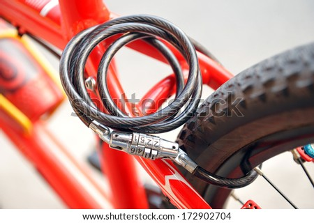 Lock the wheels bicycle - stock photo