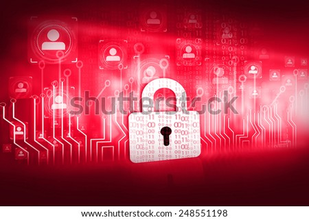 lock with circuit board, internet security concept
