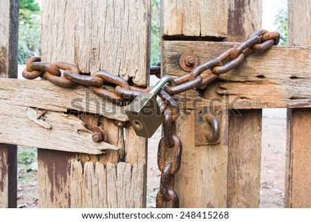 Lock with key chain lock indicator is stable. - stock photo