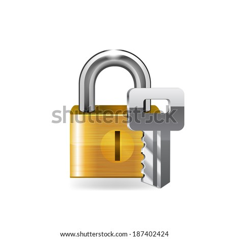 Lock with key. Raswter copy. - stock photo