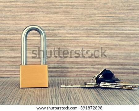 Lock with keys - stock photo