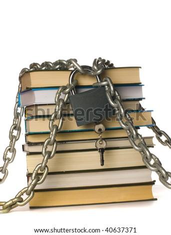 Locked books - stock photo