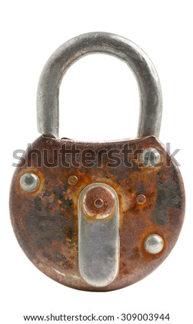 Locked old rusty padlock isolated on white background - stock photo