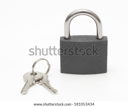 Locked Padlock & Keys isolated on white Background - stock photo