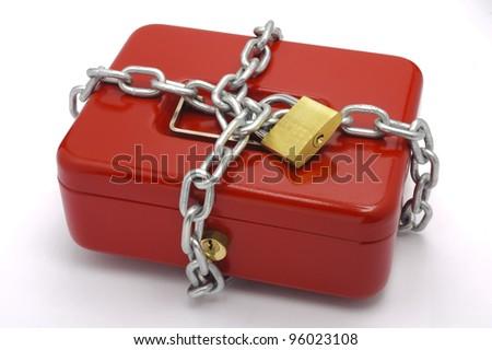locked red cash box - stock photo